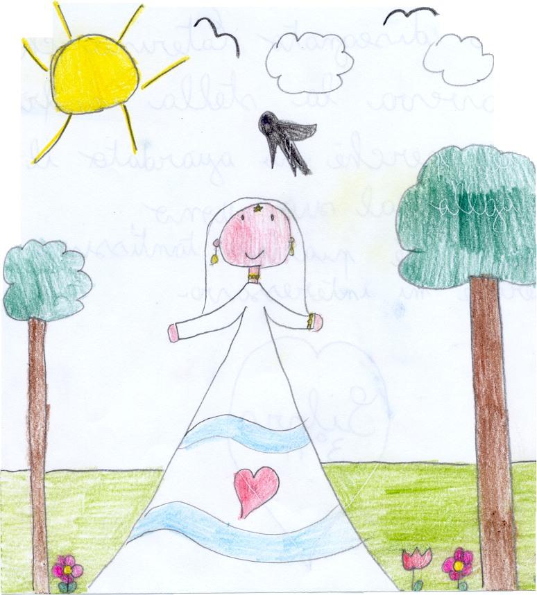 Silvia: Ho disegnato Caterina che haveva la                       stella in fronte perché ha guardato il gallo al                       suo suono. La fiaba mi è piaciuta moltissimo                       perché mi interessava.