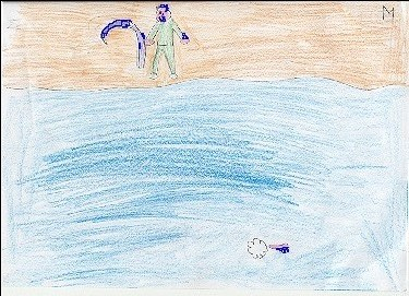 Alunno: Tempo guarda           soddisfatto dalla riva il pene cullato dal mare, da cui esce           la spuma