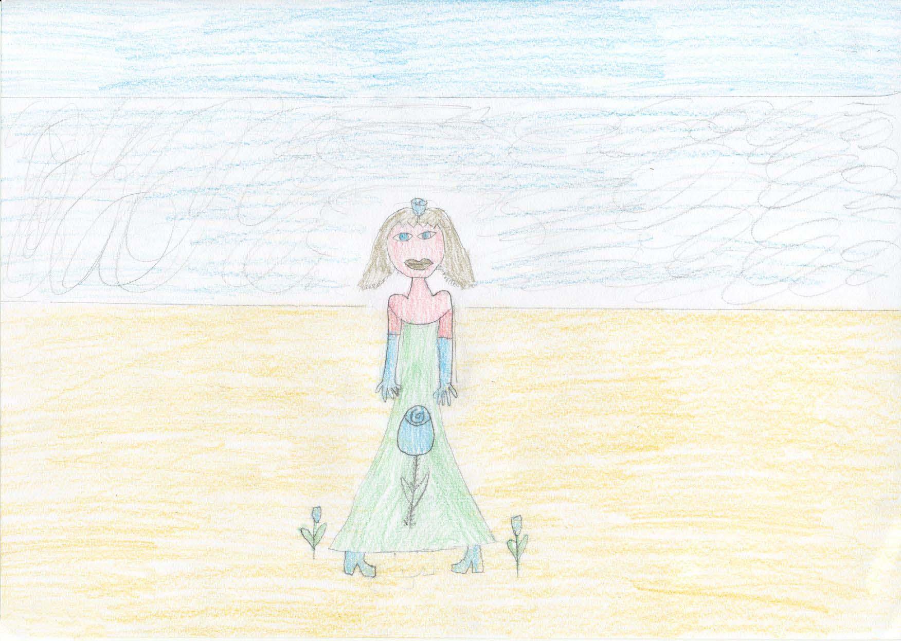 Venere vestita con grande eleganza ha una rosa sulla           veste ed è azzurra come il mare