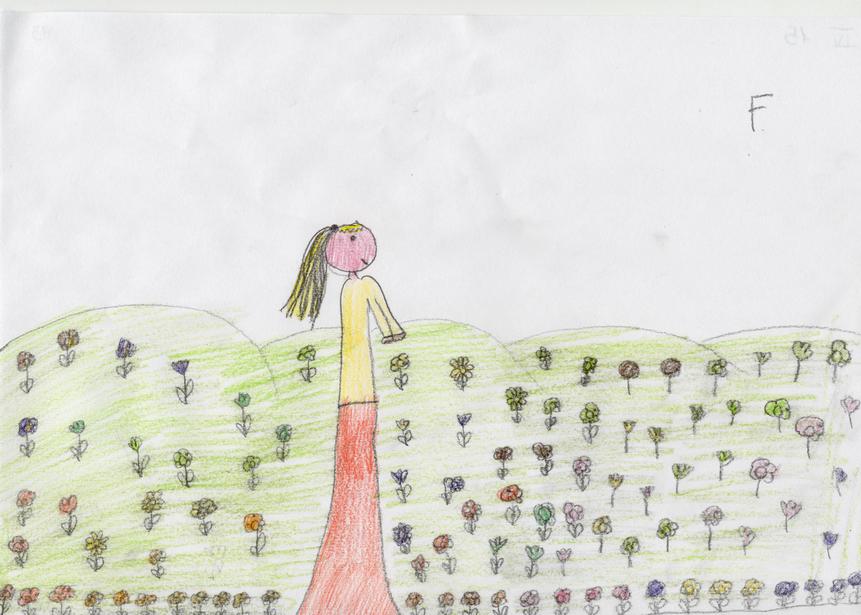Alunna di IV: Afrodite cammina su un prato fiorito