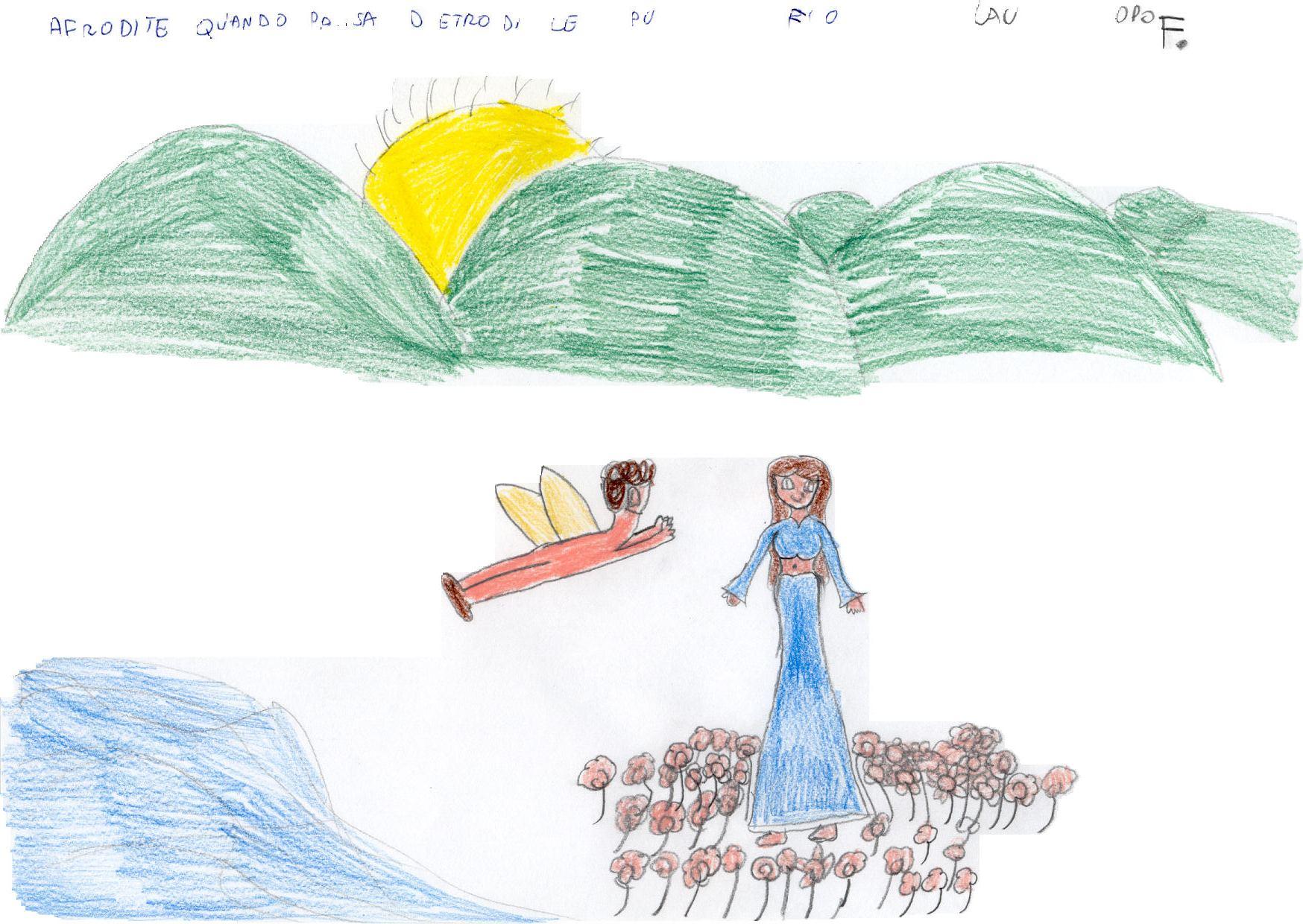 Alunna: Afrodite con l'ombelico scoperto accoglie a           braccia aperte Eros che arriva volando