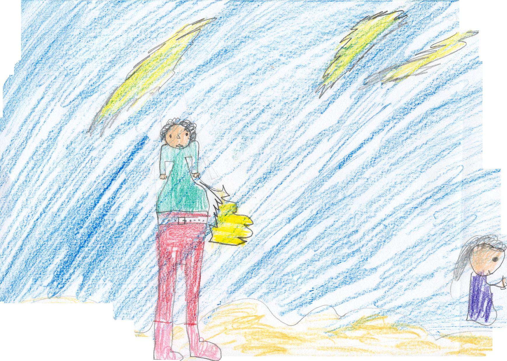 Zeus armato di fulmine, e una figura femminile al margine           destro del foglio